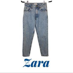 Zara High Rise Light Blue Denim Mom Jeans Size 2